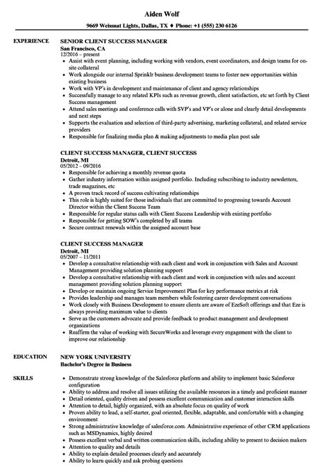 Client Success Manager Resume Samples | Velvet Jobs
