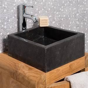 vasque a poser en marbre milan ronde noire d 30 cm With vasque salle de bain pierre noire