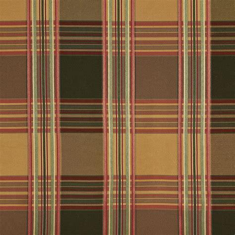 plaid upholstery fabric b0220f green gold burgundy stripes plaid silk look