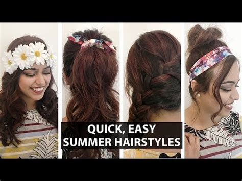 4 hairstyles for summer quick easy hairstyles youtube