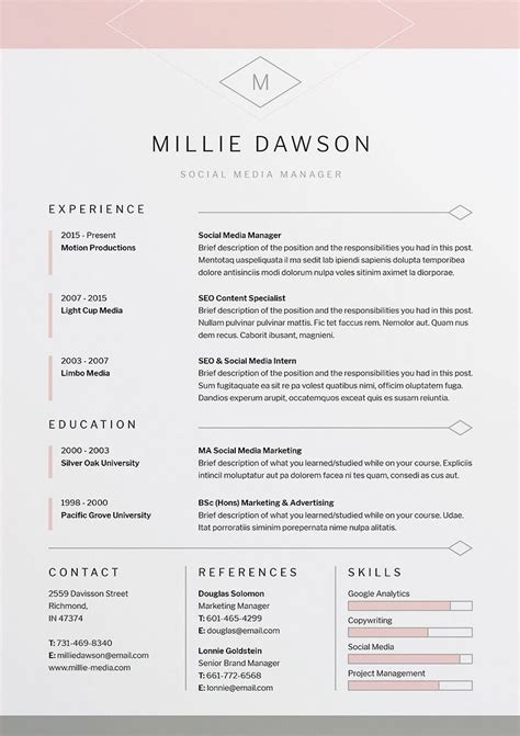 Professional Looking Resume by Millie Resume Cv Template Word Photoshop Indesign
