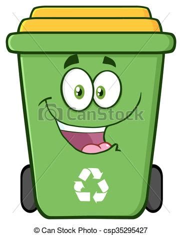 recycle bin clipart happy green recycle bin character