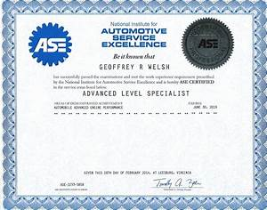ase certificates for geoff welsh With ase certificate template