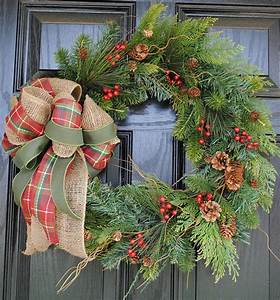 christmas, wreath, holiday, wreath, wiinter, wreath, evergreen, pine, cranberries, pinecones, burlap, bow