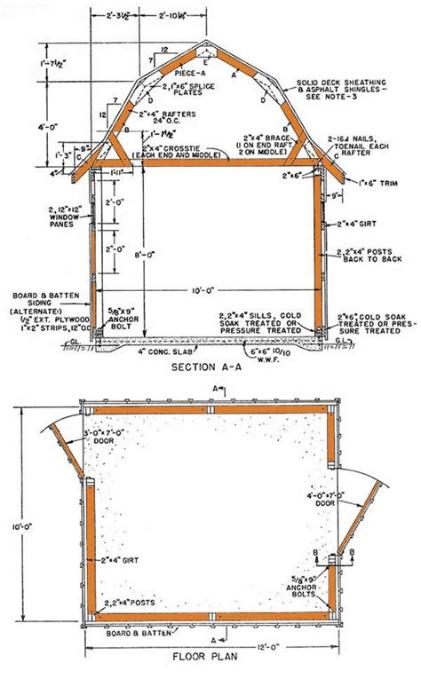 gambrel storage shed plans   build  classic gambrel shed