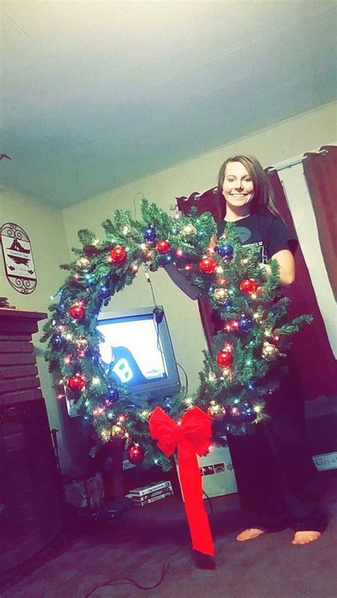 pinterest christmas made out of tulldecorating ideas wreath made out of an tree and 2 hula hoops my projects