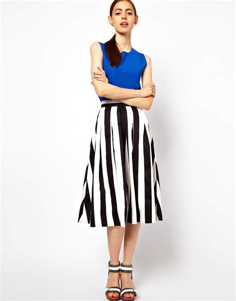 lyst asos collection midi skirt in bold stripe in white