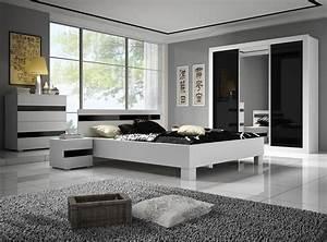 armoire design 3 portes noire et blanche thalis armoire With chambre adulte noir et blanc