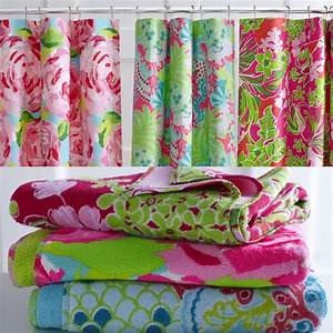 Lilly pulitzer home collection for garnet hill shower for Lilly pulitzer bathroom