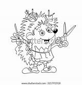 Needle Coloring Tailor Thread Outline Hedgehog Darning Shutterstock sketch template