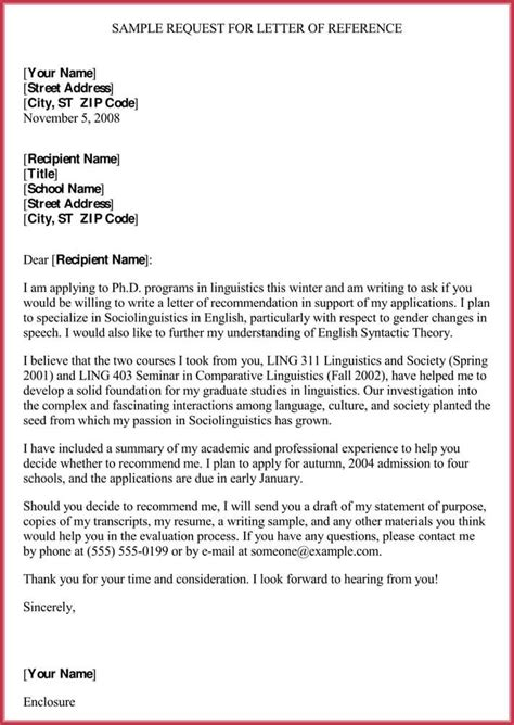 formal reference letter format  sample letters