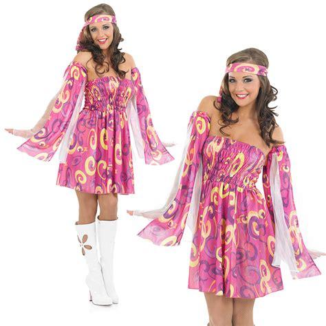 Ladies 1960S Pink Swirl Fancy Dress Costume Hippy Hippie Retro 60S Outfit M | eBay