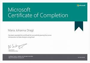 Microsoft Certificate Of Completion Voucher For
