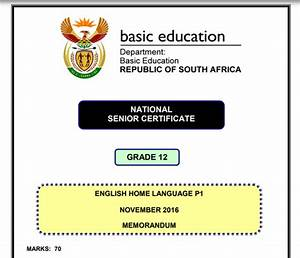 National Senior Certificate Grade 12 Memorandum  English