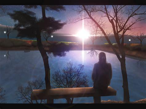 Anime Alone Hd Wallpaper - anime anime sitting alone lake sunset original