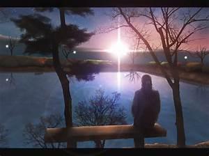 Anime, Anime, Girls, Sitting, Alone, Lake, Sunset, Original, Characters, Wallpapers, Hd, Desktop
