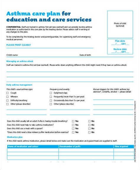 Asthma Care Plan Template Care Plan Templates 11 Free Sles Exles Format