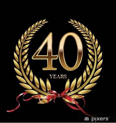 Jaar Jubileum Anniversario Alloro Corona Sticker Gouden