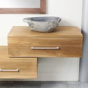 Meuble Sous Tv Suspendu : meuble suspendu sous vasque en teck 70 cm 18 760 ~ Teatrodelosmanantiales.com Idées de Décoration