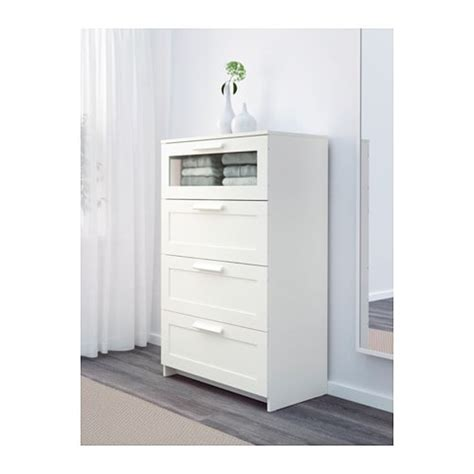 Lade Letto Brimnes Ladekast Met 4 Lades Wit Frosted Glas Ikea