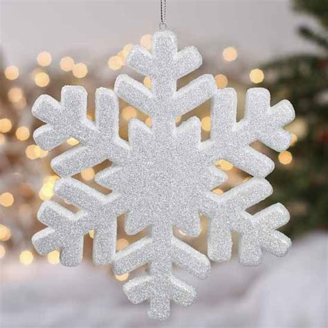 white glittered snowflake ornament christmas ornaments