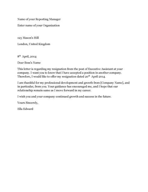 Executive Assistant Resignation Letter - Sample Resignation Letter