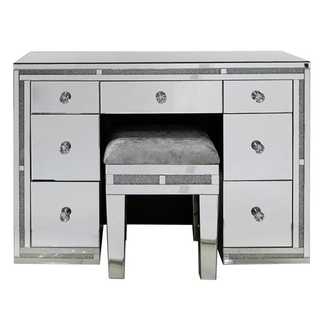 mirrored 7 drawer dressing table with swarovski crystals