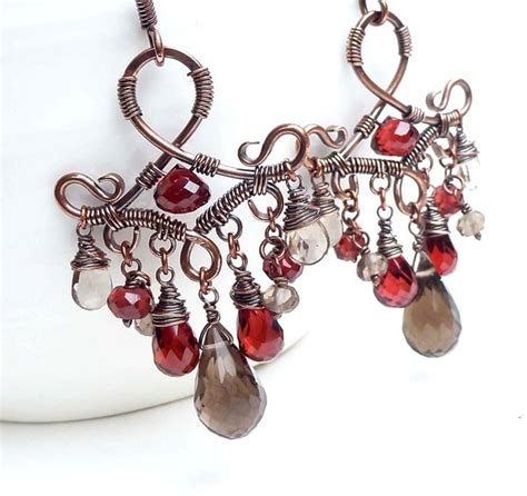 wire wrapped garnet chandelier earrings by