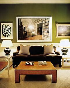 Green walls brown couch home design