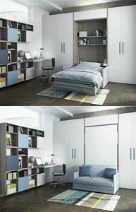Armoire lit escamotable et lits superposes chambre d39enfant for Canapé 3 places pour idee de deco pour une chambre adulte