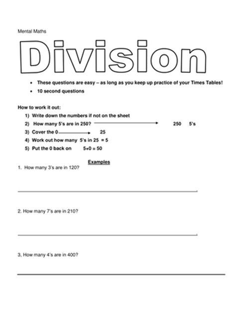 division worksheets year 6 tes mental maths year 6 division by aquablue teaching