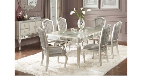 paris silver  pc dining room rectangle contemporary
