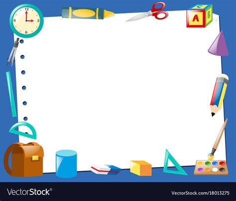 border template with school items royalty free vector