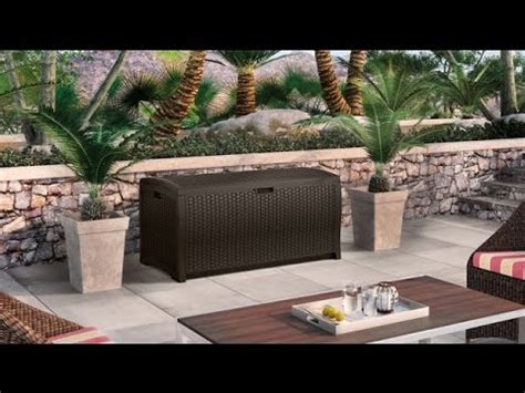 suncast resin 99 gallon deck box dbw9200 suncast dbw9200 mocha wicker resin deck box 99 gallon