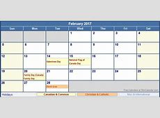 February 2017 Canada Calendar with Holidays for printing