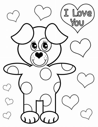 Coloring Valentines Pages Doggy