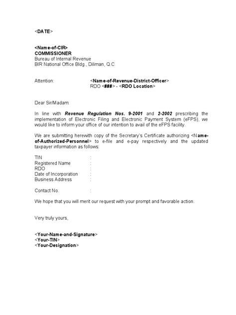 sample template efps letter  intent  secretary