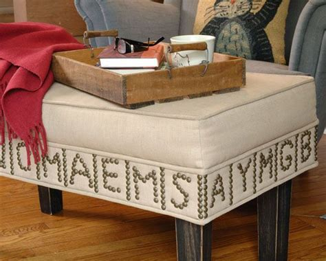 Spell Ottoman by Diy Ottoman Makeover Dress Up A Neutral Ottoman With