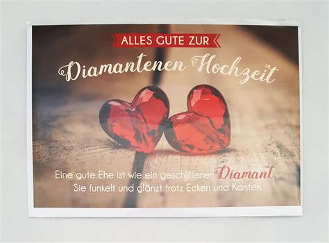 glueckwunschkarte zur diamantenen hochzeit grusskarte kaufen