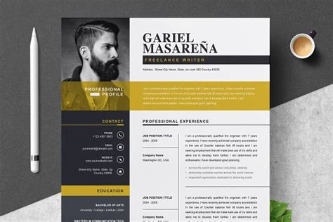 Curriculum Vitae Design Template by Search Creative Market
