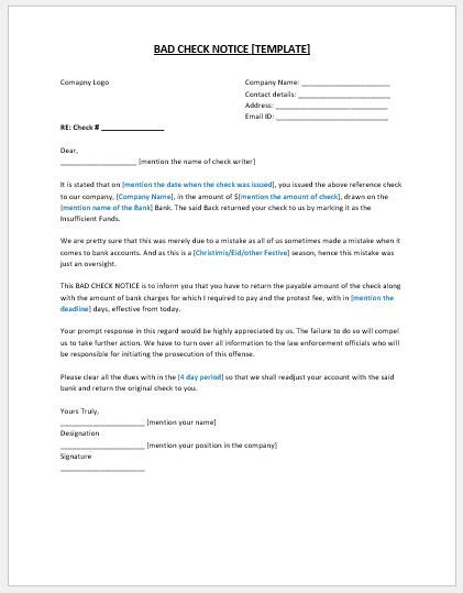 bad check notice template ms word microsoft word excel