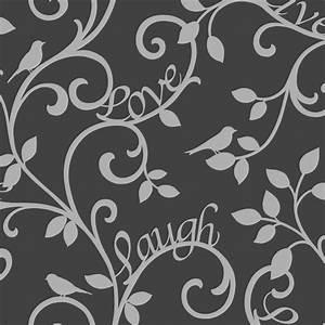 Fine Decor Live Love Laugh Scroll Wallpaper Black, Silver ...