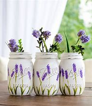 Lavender Flower Painted Mason Jars - Pai…