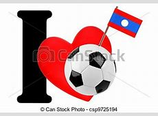 Drawing of I love soccer ball Small flag on a red heart