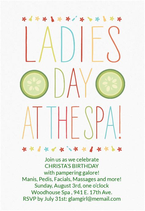ladies day   spa birthday invitation template