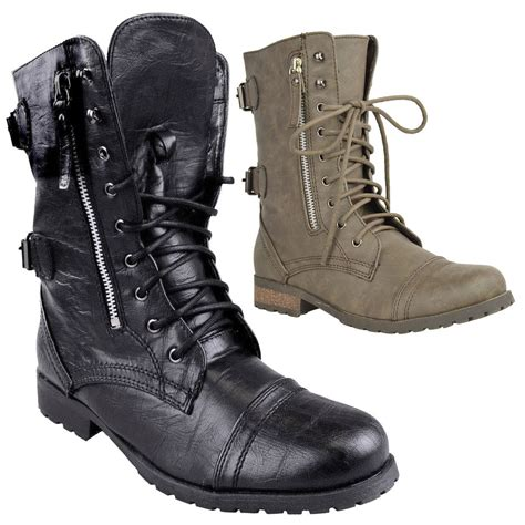 ladies biker boots ladies womens combat army military worker lace up flat