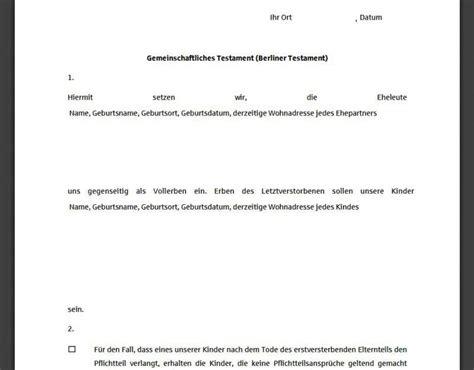 berliner testament muster  freewarede