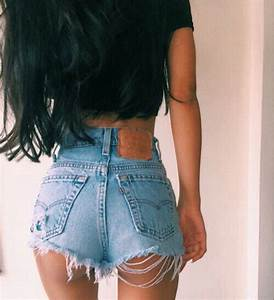 Shorts jeans denim fray frayed fraying ripped blue summer spring sun sunny hot cute ...
