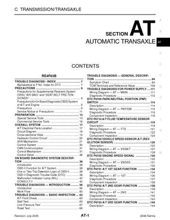 on board diagnostic system 1997 nissan sentra seat position control 2006 nissan sentra automatic transmission section at pdf manual 754 pages