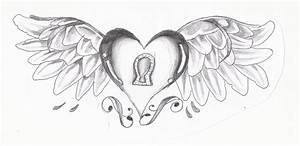 Cool Sketches Of Hearts With Wings - Great Drawing